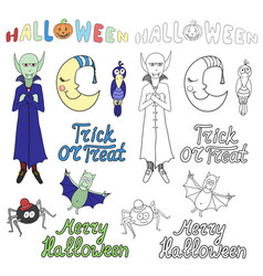 Set of cartoon halloween characters and words vector