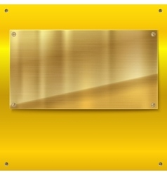 Shiny brushed metal gold yellow plate with screws vector