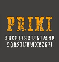Slab serif font with shabby texture vector