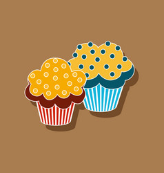 Sweet dessert in paper sticker cupcakes vector