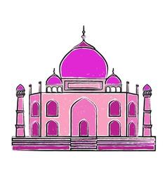 Taj mahal freehand colorful vector