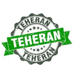 Teheran round ribbon seal vector