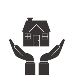 shelter hand with house icon vector image