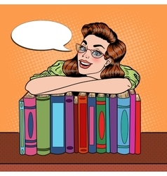 Pop art woman student with books in library vector