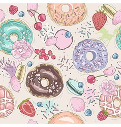 Seamless breakfast pattern with flowers and donuts vector