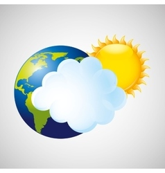 Globe earth weather meteorology cloud and sun vector