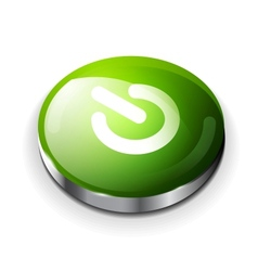 Green glossy power button icon vector