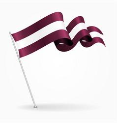 latvian pin wavy flag vector image