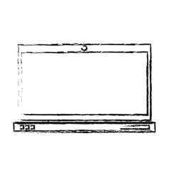 Blurred silhouette laptop computer tech device vector