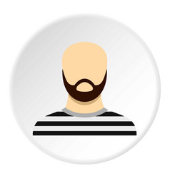Prisoner with a beard icon circle vector