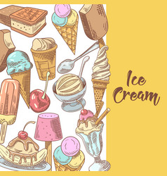Ice cream and desserts hand drawn menu vector