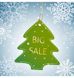 Christmas tree sale tag on a snowy background vector