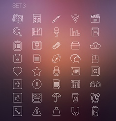 Thin icon set 3 vector