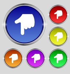 Pointing hand icon sign round symbol on bright vector