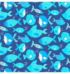 Seamless pattern of different kind sea blue fishes vector