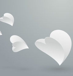 Abstract white paper hearts flying vector