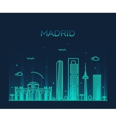 Madrid skyline trendy linear vector