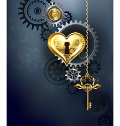 Mechanical heart with key vector