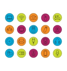 Digital devices linear icons set vector