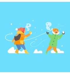Cheerful kids throwing snowballs vector