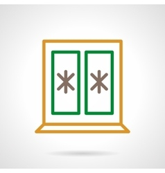 Winter window color simple line icon vector