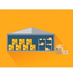 Storage warehouse with boxes in cut vector
