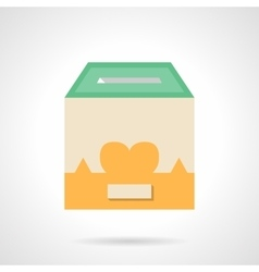 Flat color container for donations icon vector