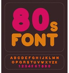 80s font retro alphabet vintage rounded alphabet vector