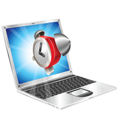Alarm clock icon laptop concept vector