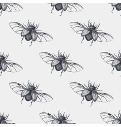 Beetles with wings vintage seamless pattern vector image vector image