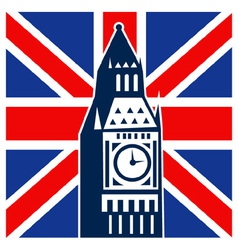 Big ben clock bell tower british falg vector