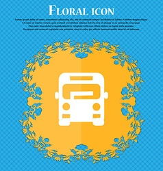 Bus icon sign Floral flat design on a blue vector image