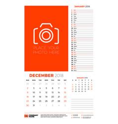 Calendar planner template for 2018 year december vector