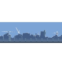 cartoon general view of the city behind a fence vector image vector image