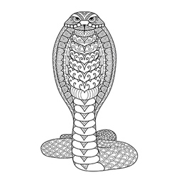 Clean lines doodle design of Cobra snake for adult vector image vector image