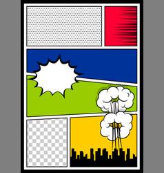 Color comics book cover vertical backdrop vector