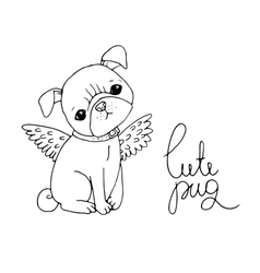 Cute pug dog vector
