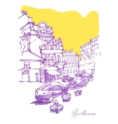 Freehand sketch drawing of podol street in kyiv vector