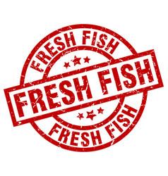 Fresh fish round red grunge stamp vector