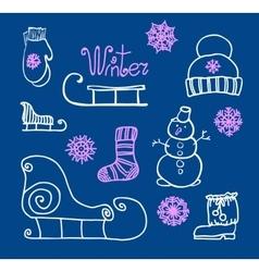 hand drawing Winter holiday Set vector image