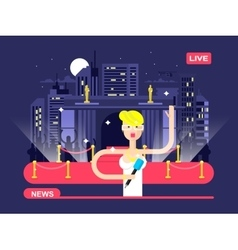 Live news reporter vector image