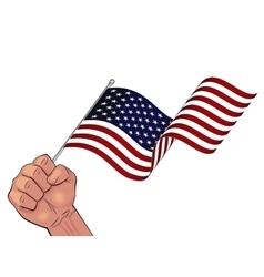 Man hand holding waving USA flag vector image