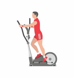 Man running on elliptical machine vector