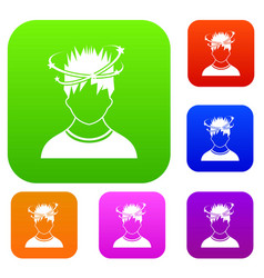 man with dizziness set collection vector image vector image