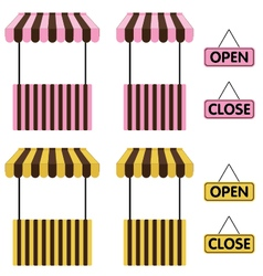 Market stall yellow and pink color with open sign vector