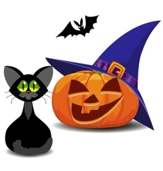 Pumpkin bat and cat Halloween vector image