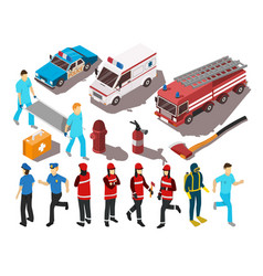 rescue service isometric set vector image vector image