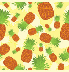Tropical summer seamless pattern of pineapples on vector