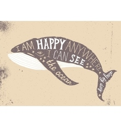 Typographical poster with whale vector image vector image