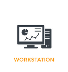 Workstation icon on white vector